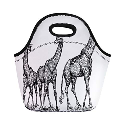 (Semtomn Neoprene Lunch Tote Bag Sketch Group of Giraffes Savana Africa African Drawing Adventure Reusable Cooler Bags Insulated Thermal Picnic Handbag for Travel,School,Outdoors, Work)