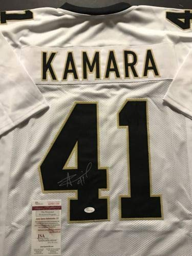 sale retailer 5f6e3 98560 Autographed/Signed Alvin Kamara New Orleans White Football ...