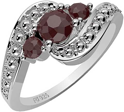 0.70ctw,Genuine Ruby & Solid .925 Sterling Silver Rings