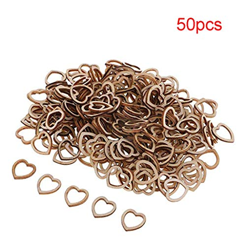 Hongxin Wedding Table Decorations Hollow Rustic/Vintage Wooden Hearts Love Confetti,Wedding Decor,for Card Making, Embellishments, Scrap Booking, decoupage, Sign Making and Art Craft Projects (B) ()