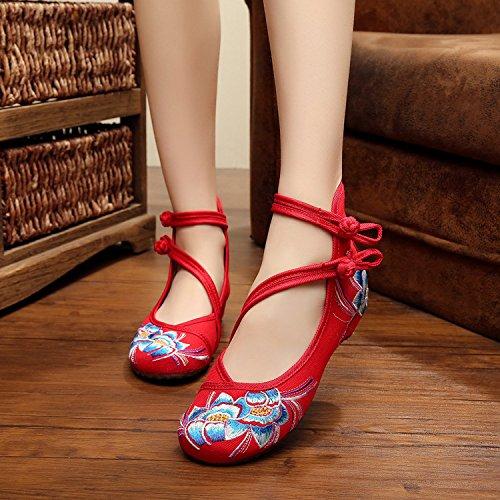 &hua Zapatos bordados, lenguado de tendón, estilo étnico, hembrashoes, moda, cómodo, zapatos de baile Red