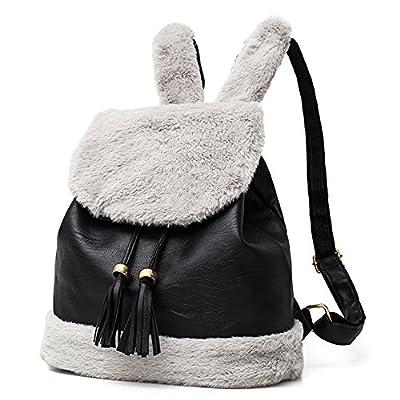 lovely Little rock Women Faux Leather Plush Rabbit Ear Tassel Backpack Travel School Bag
