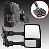 Towing Mirrors for 99-07 Ford F250 F350 F450 F550 Super Duty | 01-05 Excursion Pair Set Extendable Smoke Power Heated With LED Signal Light Side Mirrors