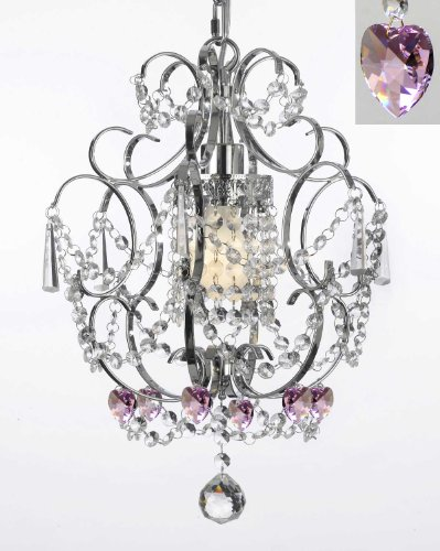 Chrome Crystal Chandelier Chandeliers Lighting With Pink Crystal Hearts! H 15″ W 11.5″ – Perfect for Kids' and Girls Bedrooms!
