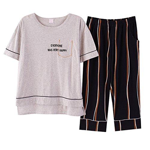 Estive Grigio Pigiami 2 COCO Pantaloncini clothing due Strisce Donna Maglietta pezzi largo Elasticizzati Pigiama 4n0q67xw