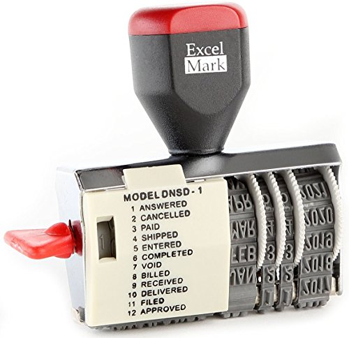 Plus 2000 Inking Self (ExcelMark 12 Phrase Dater Rubber Stamp)
