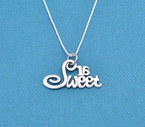 Sweet 16 Charm pendant in sterling silver on a 16