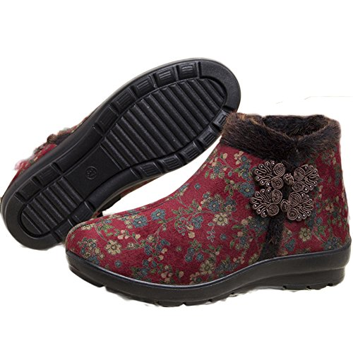 Inside Backpacking Style Red Cotton Boot Women's Senior Chinese Hiking Shoe BERTERI Winter Citizen Outdoor nqzxw41