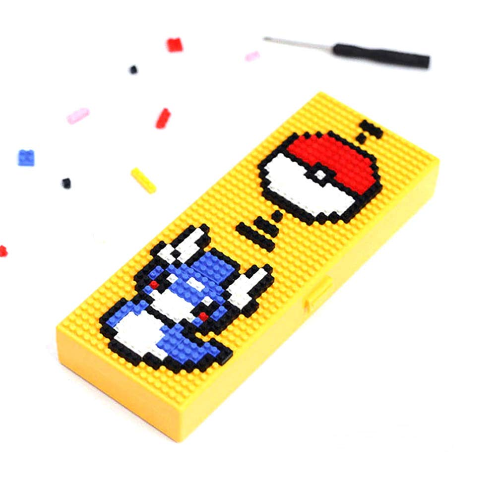 Yellow Great DIY Building Stationery for School Students Creative Enjoy Thinking Creatively with Assembled Cute Cartoon Pencil Box Eutuxia Blocks Cartoon Pencil Case Decorative /& Easy to Remove