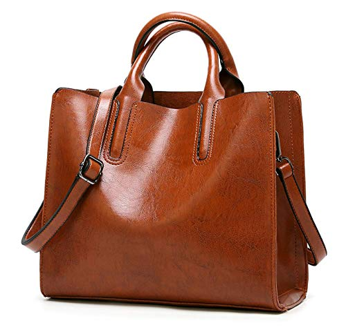 Pinprin Purses and Handbags for Women Soft Leather Tote Bags Top Handle Purse Crossbody Satchel Shoulder Bags (Brown)