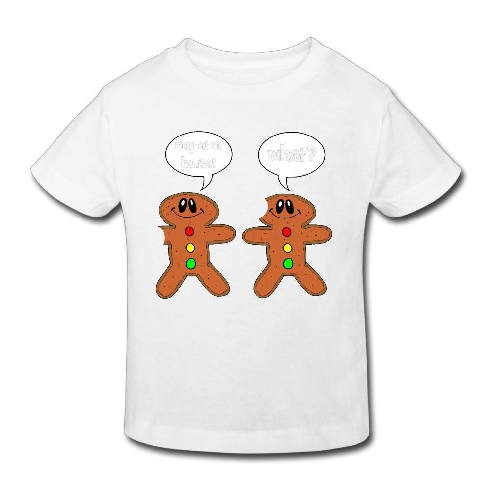 Hanxiaoxiao Girls Gingerbread Man My Arm Hurts Fashion Walk T Shirt Short Sleeve 3793