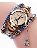 Lady Watches,POTO JY-181 Womans Eiffel Tower Crystal Winding Leather Analog Wrist Bracelet Watch Gift