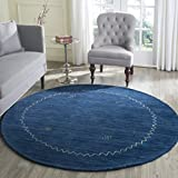 Safavieh Himalaya Collection HIM583A Handmade Blue Premium Wool Round Area Rug (6′ Diameter) For Sale