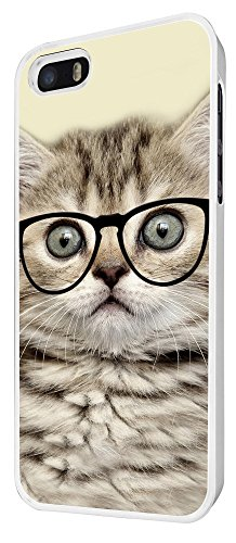 040 - Cool Geek Kitten Cat Reading Sunglasses Funny Design iphone 5 5S Coque Fashion Trend Case Coque Protection Cover plastique et métal - Blanc