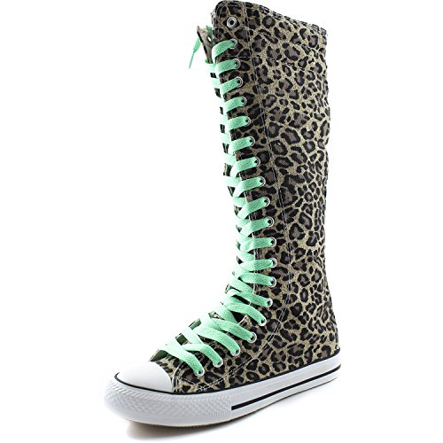 Dailyshoes Toile Femme Mi-mollet Bottes Hautes Casual Sneaker Punk Plat, Bottes Léopard, Parfait Vert Dentelle