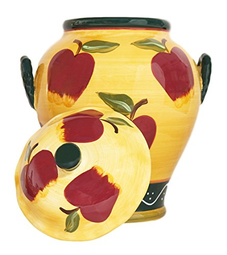 (Tuscany Country Apple, Hand Painted Ceramic, Cookie jar Canister, 84176 By ACK)