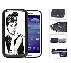Audrey Hepburn Black And White Sketch 2-Piece Dual Layer High Impact Rubber Silicone Cell Phone Case Samsung Galaxy S4 SIV I9500