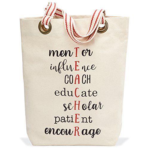 Mud Pie Teacher Mentor Tote Bag, One Size, Off White by Mud Pie (Image #3)