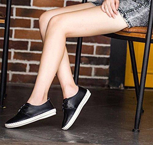 Frau im Frühjahr und Herbst College Wind Schuhe, flache Schuhe Dameneinzel runde Schuhe Freizeitschuhe Aufzug Schuhe Spitze , US6 / EU36 / UK4 / CN36