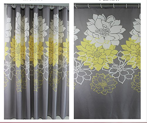 eforgift floral fabric shower curtain waterproof bathroom curtains yellow gray ebay. Black Bedroom Furniture Sets. Home Design Ideas
