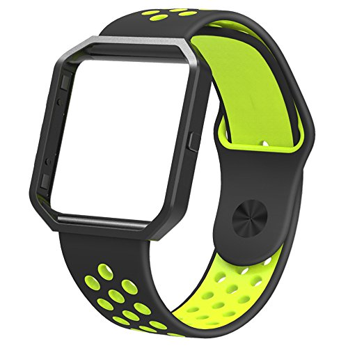 Simpeak Sport Band for Fitbit Blaze, Large Soft Silicone Replacement Strap with Metal Frame fit Fitbit Blaze Smart Fitness Watch for Men or Women, Black and Volt