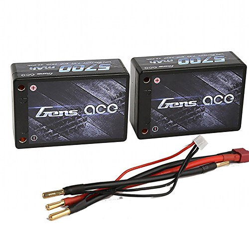 Gens ace Saddle LiPo Battery Pack 5700mAh 7.4V 50C 2S3P HardCase with Deans T+JST-XHR-3P Plug for RC Car Boat Truck Heli
