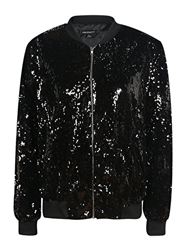 (Vero Viva Women's Sparkle Sequin Front Zip Coat Long Sleeve Ribbed Bomber Jacket(S,Black))