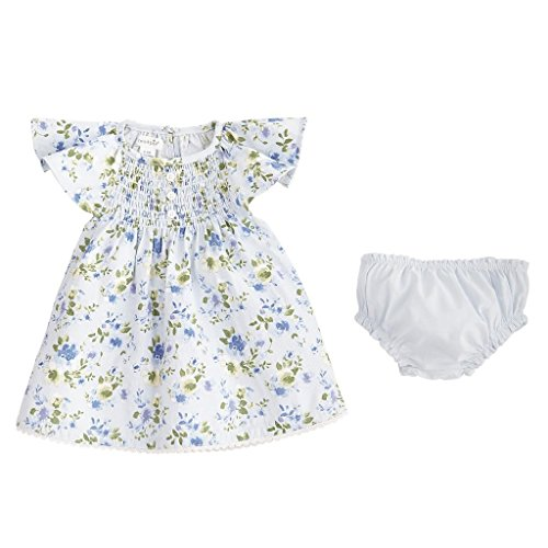 Mud Pie Baby Girls Floral Smocked Flutter Sleeve Casual Dress With Bloomers, Blue, 9-12 Months Infant Smocked Dress
