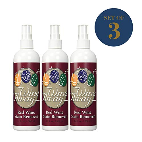 Wine Away Red Wine Stain Remover - Perfect Fabric Upholstery and Carpet Cleaner Spray Solution - Removes Wine Spots - Spray and Wash Laundry to Vanish Stain - Wine Out - Zero Odor - 12 Ounce, 3 Pack (Best Wine Stain Remover)