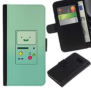 KLONGSHOP / Tirón de la caja Cartera de cuero con ranuras para tarjetas - Console Green Retro - Samsung Galaxy S6 SM-G920