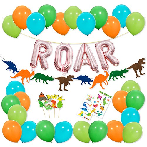 Dinosaur Party Decorations - Rose Gold ROAR Banner Mylar Balloons, Colorful Felt Garland, Dinosaur Cake Topper and Latex Balloons with Tattoo for Dino Jungle Jurassic Dinosaur Birthday Party Supplies -