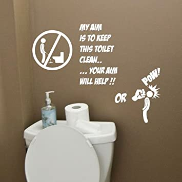 Toilet Bathroom Funny Wall Quote Stickers Wall Decals Bathroom Decorations:  Amazon.co.uk: Kitchen U0026 Home Part 66