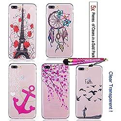 "MerKuyom Pack of [5x Pieces] [iPhone 7 Plus] Cases / iPhone 8 Plus Cases, Soft [Flexible Gel] [Clear Transparent] Covers (5.5""), TPU Cases Covers For [iPhone 7 Plus] / [iPhone 8 Plus], + Stylus (5PCS)"