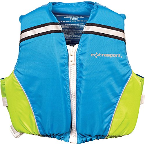 Extrasport Youth Volks Personal Flotation Device/Life Jacket Fits 50-90 -Pound, Sail Blue/Sour Apple