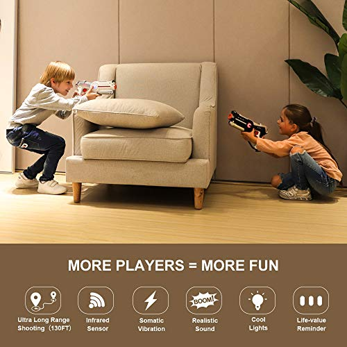 Veken Laser Tag Set with 4 Pack Infrared Laser Tag Guns 2 Robot Bug 1 Carrying Case for Kids Multiplayer Indoor Outdoor Game - Infrared 0.9Mw by Veken (Image #1)