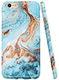iPhone 6s Case, iPhone 6 Case, A-Focus Glossy Blue Green Marble Texture Rock Stone IMD Design Protective Shock Proof Flexible Slim Rubber Silicone Case for iPhone 6 / 6s 4.7' - Glossy Blue