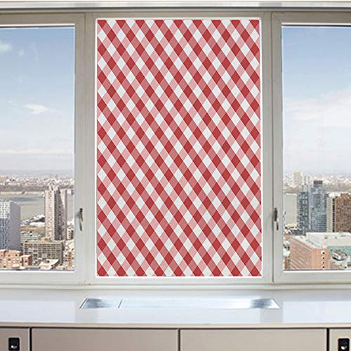 3D Decorative Privacy Window Films,Crosswise Stripes with Little Red Squares Retro Style Abstract Pattern Decorative,No-Glue Self Static Cling Glass film for Home Bedroom Bathroom Kitchen Office 24x36 ()