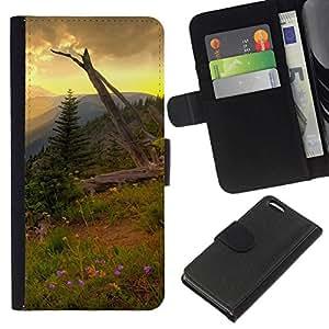 NEECELL GIFT forCITY // Billetera de cuero Caso Cubierta de protección Carcasa / Leather Wallet Case for Apple Iphone 5C // Americana Montaña Forrest