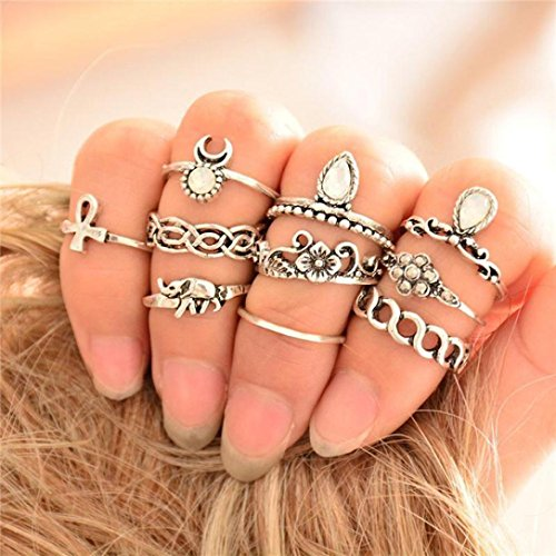 Vovotrade Retro 10Pcs/ Set Boho Fashion Arrow Moon Midi Finger Knuckle Rings - Shop Indian Vienna