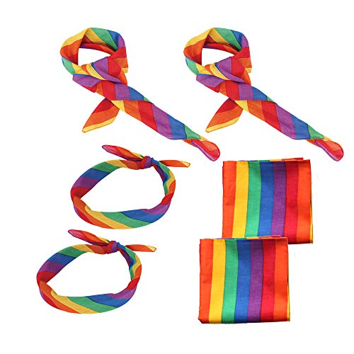 (YLMY 6 pcs Cotton Rainbow Bandanas, Gay Pride Rainbow Stripe Headband, Unisex Kerchief Square Scarf for Daily Wear Party Celebration Supplies)