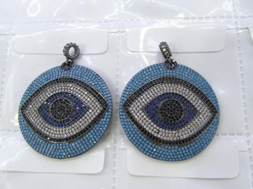 32mm Sapphire blue Diamond Crystal Eyes Micro Crystal Pave Diamond Pendant gunmetal Jewelry Focal Round Disc Evil Jewelry beads 2pcs