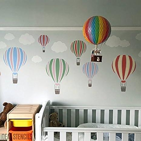 Paint Walls Fabrics /& Furniture S//16X25CM Nursery /& Child Friendly Home Wall Decorating /& Craft Stencil 190 Mylar Reusable Stencil Hot Air Balloon Stencil