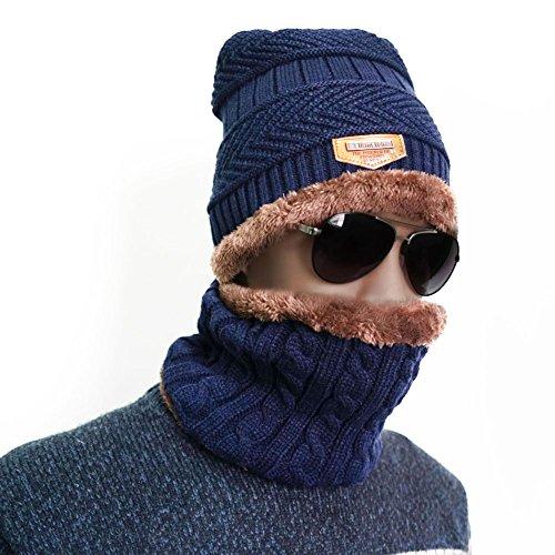 Winter Beanie Hat Scarf Set Warm Knit Outdoors Ski Beanie for Men Women (Blue)
