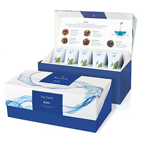 Tea Forté BLEU Presentation Box Tea Sampler, Assorted Variety Tea Box, 20 Handcrafted Pyramid Tea Infuser Bags – Blue Herbal Tea