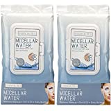 Essential Oils - 2 Pack (60 Count Each) Micellar Water Makeup Remover Facial Wipes