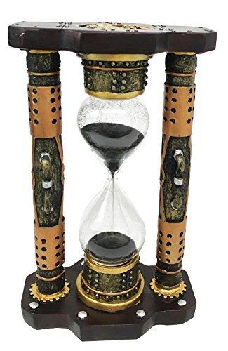 Endless Time Shifting Warp Column Steampunk Gearwork Sandtimer Black Sand Figurine Sculpture by Gifts & Decor 3