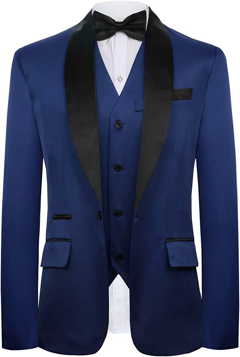 CMDC Mens New Three-Piece Contracted Style Groomsman Suit D215