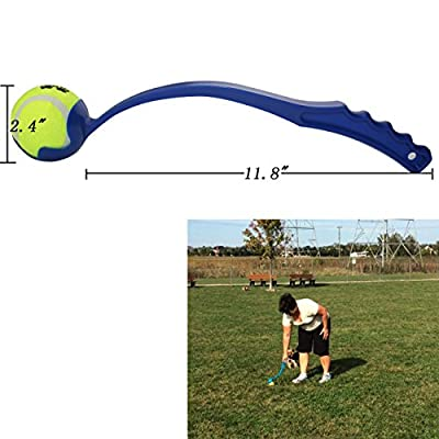 "Dog Ball Launcher / Thrower By Dfied - Comes with 3 Tennis Balls - Thrower Is Light Weight & Durable (Colors Vary) - Handle 14"" (38cm) - Easy to Throw Long Distance"