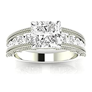 1.6 Ctw 14K White Gold GIA Certified Cushion Cut Antique / Vintage Style Channel Set Round Diamond Engagement Ring with Milgrain, 1 Ct I J VS1 VS2 Center