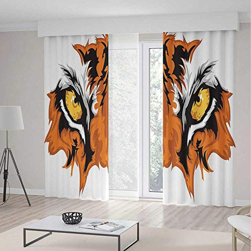 (C COABALLA Living Room Curtains TT01 Eye Living Room Bedroom Window Drapes Tiger Eyes Graphic Mascot Animal Face 2 Panel Set 157W x 94LInches)